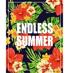 Tropical background with endless summer lettering vector