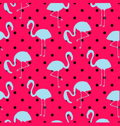 blue and pink flamingo silhouette dotted pattern vector image vector image