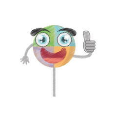 drawing lollipop sweet party vector image