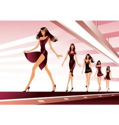 Fashion models on runway vector image vector image