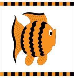 Funny orange fish with black stripes vector image vector image