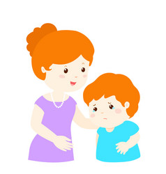 Mother soothes crying son vector