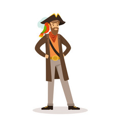 pirate sailor character with a parrot on his vector image