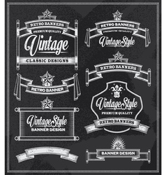 Retro vintage banners and frames chalkboard design vector image vector image