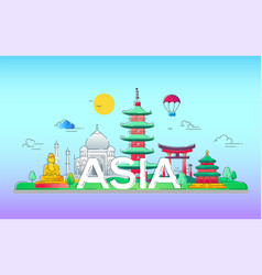 asia - line travel vector image vector image