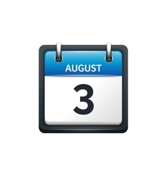 August 3 Calendar icon flat vector image vector image