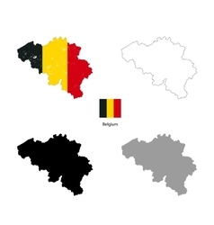 Belgium country black silhouette and with flag on vector image