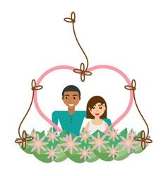 Couple lovely heart frame flowers decorative vector