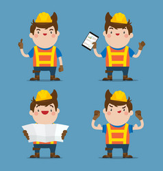 cute male construction worker 4 action set vector image
