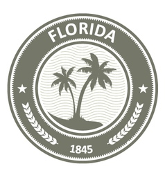Florida stamp - FL state label with palm trees vector image vector image
