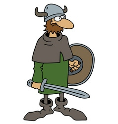 Funny old viking warrior vector image vector image