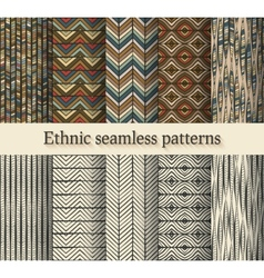 hand drawing ethnic seamless patterns set vector image vector image