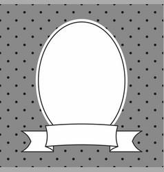 Hand drawn decorative frame on grey polka dots vector