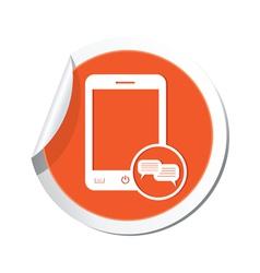 phone chat icon orange sticker vector image vector image