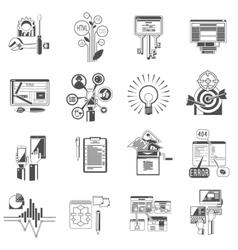 Seo icons set black vector image vector image