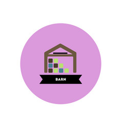 Stylish icon in color circle building barn vector