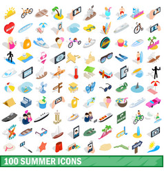 100 summer icons set isometric 3d style vector image