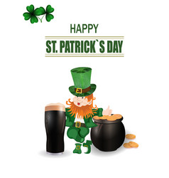 a glass of dark beer leprechaun in green hat two vector image