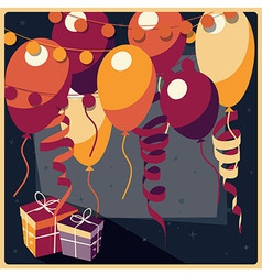 Birthday background with presents and balloons vector image