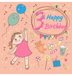 Birthday little girl 3 years vector