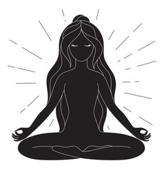 Black and white yoga poster with copy space vector