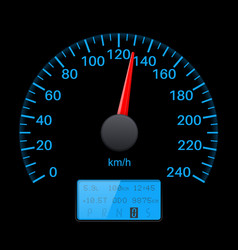 Black speedometer scale with blue back light vector