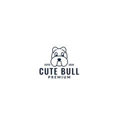 Bulldog head cute line modern logo design vector