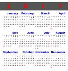 Business template of 2017 calendar vector