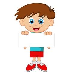 Cartoon boy holding blank paper vector image