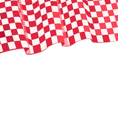 Checkered red racing flag on top vector