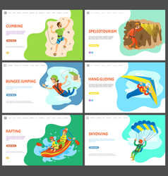 Climbing and speleotourism hang gliding rafting vector
