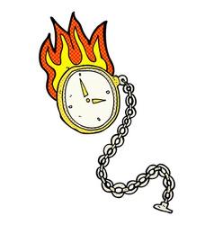 Comic cartoon flaming watch vector