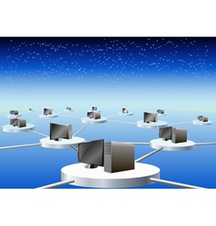 computers connected in a network vector image vector image