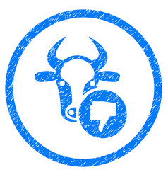 Cow thumb down rounded grainy icon vector