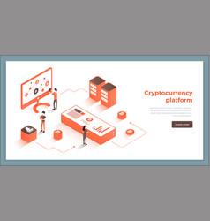 cryptocurrency exchange and blockchain isometric vector image