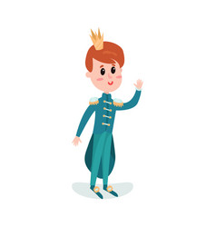 cute cartoon boy character in a blue prince vector image
