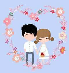 cute girl and boy couple in floral flower frame vector image