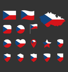 czech flag icons set symbols flag of vector image