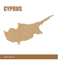 Detailed map of cyprus cut out of craft paper vector