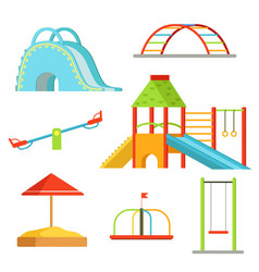 Different equipment on playground for children vector