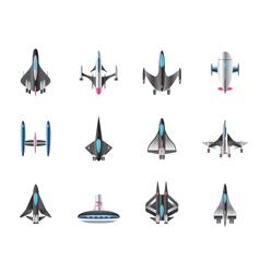 Different spaceships in flight vector image