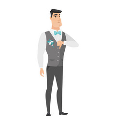 Disappointed caucasian groom with thumb down vector