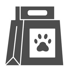 Dog food package solid icon dog food with paw vector