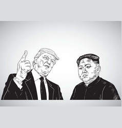 Donald trump vs kim jong un cartoon vector