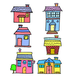 doodle of house set style cartoon vector image