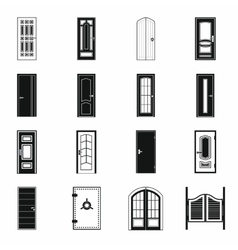 Doors icons set simple style vector image