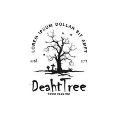 dry tree logo design template idea vector image