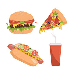 fast food icon set includes pizza slice burger vector image