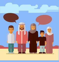 flat arabic family social concept design vector image