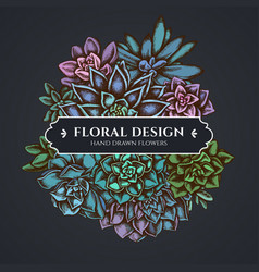 floral bouquet dark design with succulent vector image